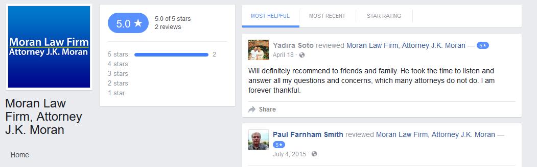DUI Attorney Palm Springs facebook reviews